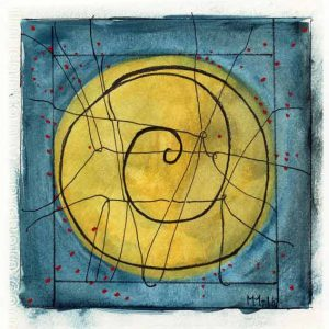 Margit Mendiant 1 Sweden, Full Moon, 2016, Mixed Media, 13 x 13,75