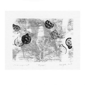 Matjaž Geder 1, Slovenia, Flight, 2017, Monoprint, 10 x 12,2 cm