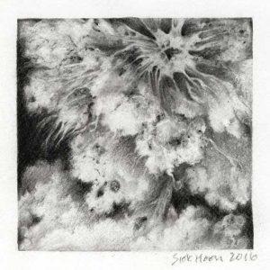 Ng Siok Hoon 1, Singapore, Cloudscape I, 2016, Charcoal, 13 x 13 cm
