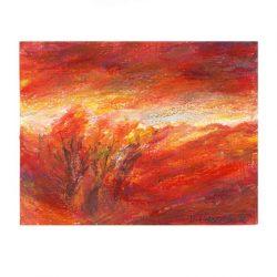 Pamela Ecker 1, Austria, Sunset Light, 2016, Acrylic, Oil Pastel, 10 x 13 cm