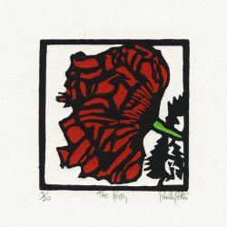 Paula Pohli 1, Ireland, Poppy's End, 2015, Linocut Handburnished, 7.5 x 5,7 cm
