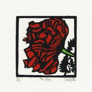 Paula Pohli 1, Ireland, Poppy's End, 2015, Linocut Handburnished, 7.5 x 5,7 cm
