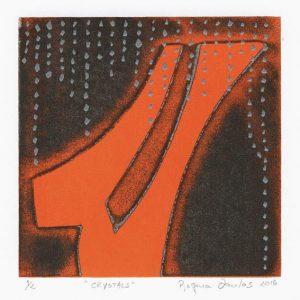 Regina Dantas 2, Brazil, Crystals, 2016, Monotype, Silkscreen, 13 x 13 cm
