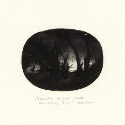 Reti Saks 1, Estonia, Landscape of the Other Side, 2011, Dry point, 7,8 x 10 cm