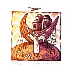 Victor Lipkin 1, Israel, Noah's Ark I, Lino, 9,5 x 12 cm