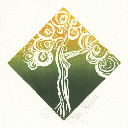 Tülay Öktem, 2, Turkey, Green Woman Tree, 2016, Linocut, 13 x 13 cm