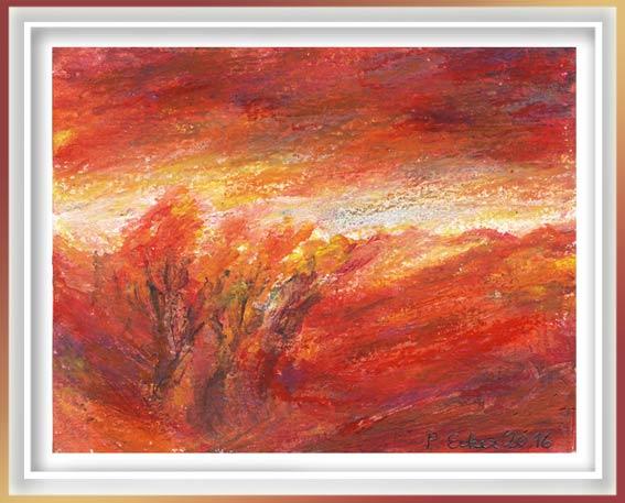 Pamela Ecker, Austria, Sunset Light, 2016, Acrylic, Oil Pastel, 10 x 13 cm