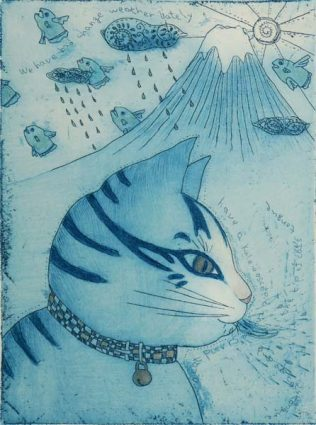 Chiemi Itoi, 21, Japan, The dreame that the Cat saw, 2006, Etching, Mezzotint, Drypoint, Color Pencle , 15,5 × 11,5 cm