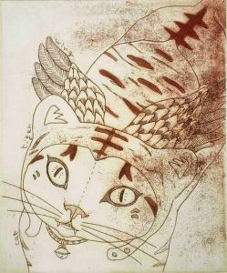 Chiemi Itoi 26, Japan, The Tiger has Wings, 2009, Etching, Mezzotint, Aquatint, 14 × 11,5 cm