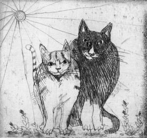 Chiemi Itoi, 6, Japan, Cat's, 1998, Etching, Drypoint, 8 × 8,5 cm