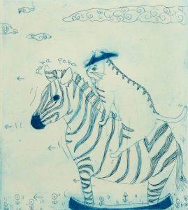 Chiemi Itoi, 11, Japan, Paka Paka Horse, 2013, Etching, Mezzotint, Drypoint, 12,5 × 11,5 cm