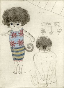 Chiemi Itoi, 13, Japan, Afro Hair, 2012, Mezzotint, Etching, Color Pencil, 11,5 × 8,5 cm