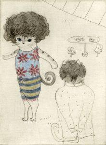 Chiemi Itoi, 13, Japan, Afro Hair, 2012, Mezzotint, Etching, Color Pencil, 11,5 × 8,5 cm