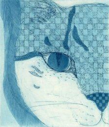 Chiemi Itoi, Japan, 15, Blue Cat, 2009, Etching, Mezzotint , 11,5 × 10 cm,