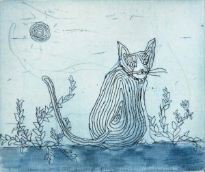 Chiemi Itoi, 16, Japan, Cat(Blue), 1993, Etching, Mezzotint , 7,5 × 9 cm