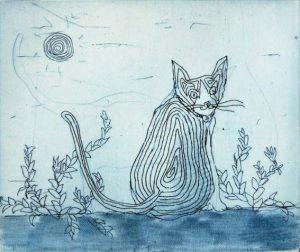 Chiemi Itoi, 16, Japan, Cat(Blue), 1993, Etching, Mezzotint , 7,5 × 9 cm