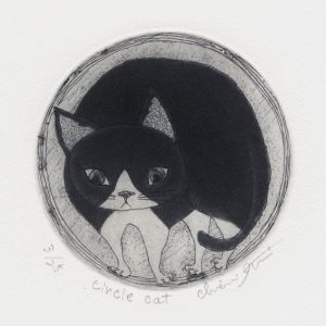 Chiemi Itoi, 18, Japan, Circle Cat, 2002, Etching, Mezzotint, 8 cm