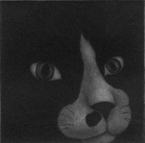 Chiemi Itoi, 19, Japan, Kau Kau, 2001, Mezzotint, Drypoint, 9 × 9 cm