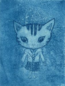Chiemi Itoi, 1, Japan, A Cat in a Ailor-Fuku, 2003, Etching, Aquatint, 8 × 6 cm