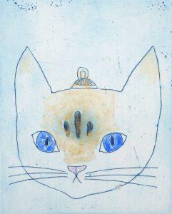 Chiemi Itoi, 20, Japan, Cat's Ornament(ma), 2010, Etching, Mezzotint, Acryl Gouache, 10 × 8 cm