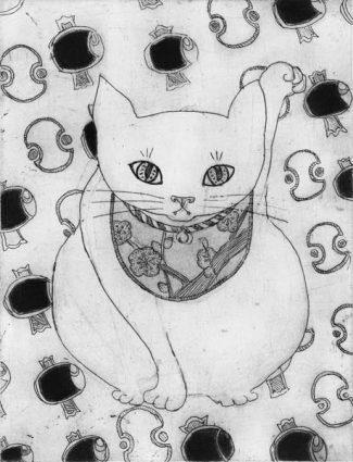 Chiemi Itoi, 22, Japan, Maneki-neko (uchidenokozuchi), 2010, Etching, Mezzotint, 15 × 11,5 cm,