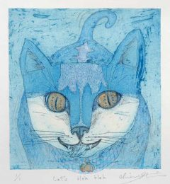 Chiemi Itoi, 23, Japan, Cat's Bleh Bleh, 2017, Etching, Aquatint, Color Pencil, 16 × 14,7 cm