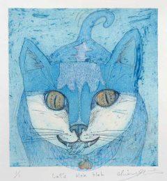 Chiemi Itoi, 23, Japan, Cat's Bleh Bleh, 2017, Etching, Aquatint, Color Pencil, 16 × 14,7 cm