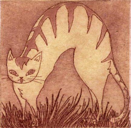 Chiemi Itoi, 27, Japan, Peter and the Wolf, Cat, 2001, Etching, Mezzotint, Aquatint, Japanese Paper(Ganpi), 6,5×6,5 cm