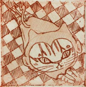 Chiemi Itoi, 29, Japan, A Cat Who is Going to be a Monkey, 2003, Etching, Mezzotint, 3,5 × 3,5 cm