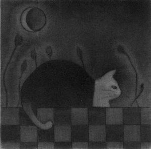 Chiemi Itoi, 4, Japan, Moon Cat, 1999, Mezzotint, Drypoint, 9 × 9 cm