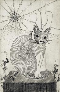Chiemi Itoi, 5, Japan, Rabbit Cat, 1998, Etching, Mezzotint, Drypoint, 10 × 6,5 cm