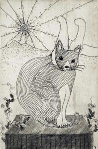 Chiemi Itoi, 5, Japan, Rabbit Cat, 1998, Etching, Mezzotint, Drypoint, 10 × 6,5 cm