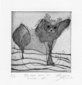 Chiemi Itoi, 8, Japan, The Same Dream as Reality-Cat, 2001, Etching, Mezzotint, 10 × 10 cm