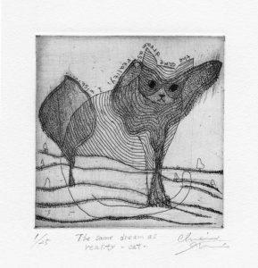 Chiemi Itoi, 8, Japan, The Same Dream as Reality-Cat, 2001, Etching, Mezzotint, 10 × 10 cm