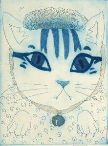 Chiemi Itoi, 9, Japan, Seep's Cap, 2014, Etching, Mezzotint, Drypoint, 18 × 13, 5 cm