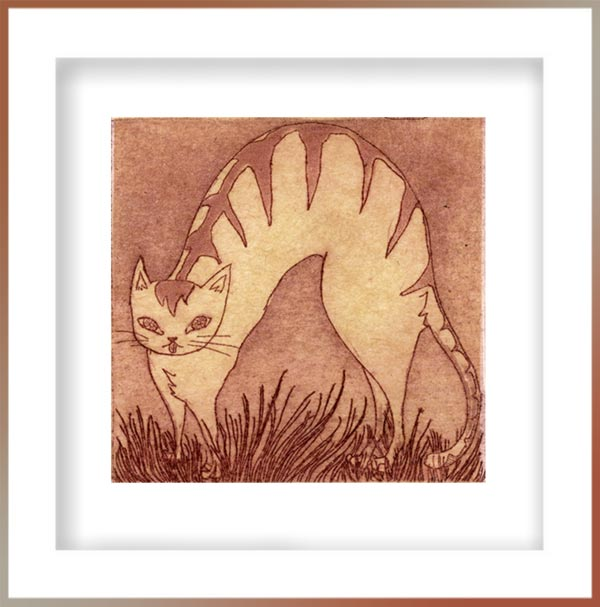 Chiemi Itoi, 27, Japan, Peter and the Wolf, Cat, 2001, Etching, Mezzotint, Aquatint, Japanese Paper(Ganpi), 6,5×6,5 cm