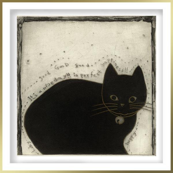 Chiemi Itoi, 14, Japan, Fortune Cat, 2013, Mezzotint, Deep Etching, Drypoint, Color Pencil, 15 × 15 cm