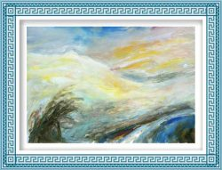 Pamela Ecker, Austria, Snowy Landscape, 2016, Acrylic on Paper, 44 x 64 cm
