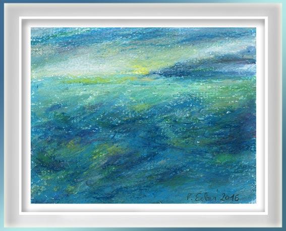 Pamela Ecker, Austria, View At Sea, 2016, Acrylic, Oil Pastel, 10 x 13 cm