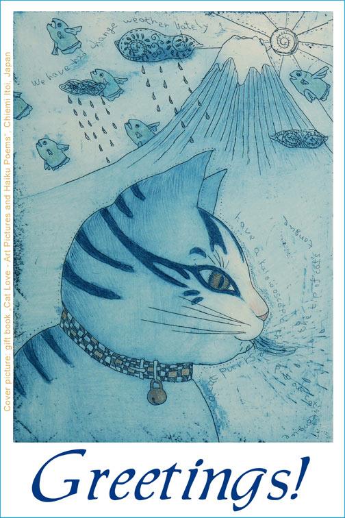 Katzengruß Englisch Greetings Katzenbuch Titelbild Radierung Kunstbild Chiemi Itoi Japan
