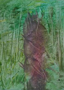 Ruth Helena Fischer 16 Italy, TREE-TRUNK, mixed technics on canvas, 21 x 29,7 cm , 2017