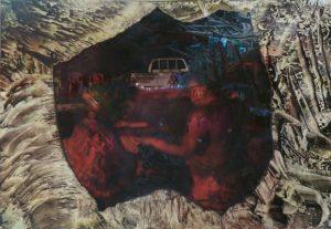 Ruth Helena Fischer 4, Italy, IN FLIGHT 2, mixed technics on canvas, 29,7 x 21 cm , 2017