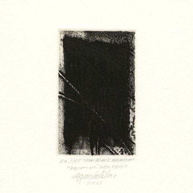 Agim Salihu 13, Kosovo, THE BLACK WINDOW, 2011, Aquatint Dry Point, 10 x 6.5 cm