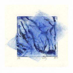 Aida Stolar 2, Israel, Blue Veil, 2017, Etching, 14 x 14 cm