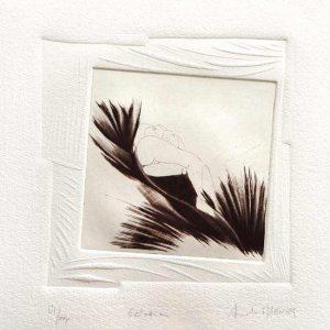 Armelle Magnier 1, France, En Chien de Fusil, 2018, Burin, Mezzozinto, Embossed Print, 14 x 14 cm
