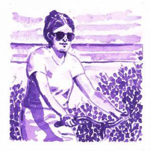 Britt Salver 1, Denmark, Cycling Poetry, 2017, Aquarelle, 14 x 14 cm