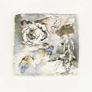 Ellen Geerts 1, Netherlands, Summerflowers-Roses, 2015, Collage, Ink, 10 x 10 cm