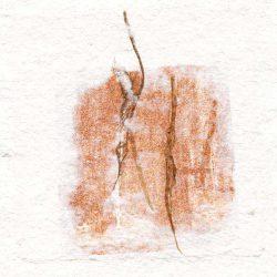 Elvira Cerda 1, Belgique, Départ à Deux, 2018, Composition Papier-Gravure, 14 x 14 cm