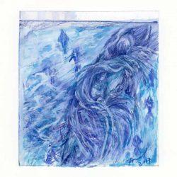 Fariel Shafee 2, Bangladesh, Blue 2, 2017, Watercolor + Watercolor Pencils, 12,5 x 13 cm