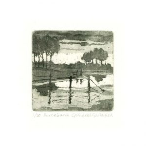 Gerhardt Gallagher 1, Ireland, Morning Larch, 2016, Aquatint Etching, 9 x 9 cm